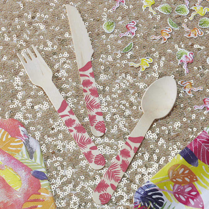 Ginger Ray Tropical Pink Wooden Cutlery