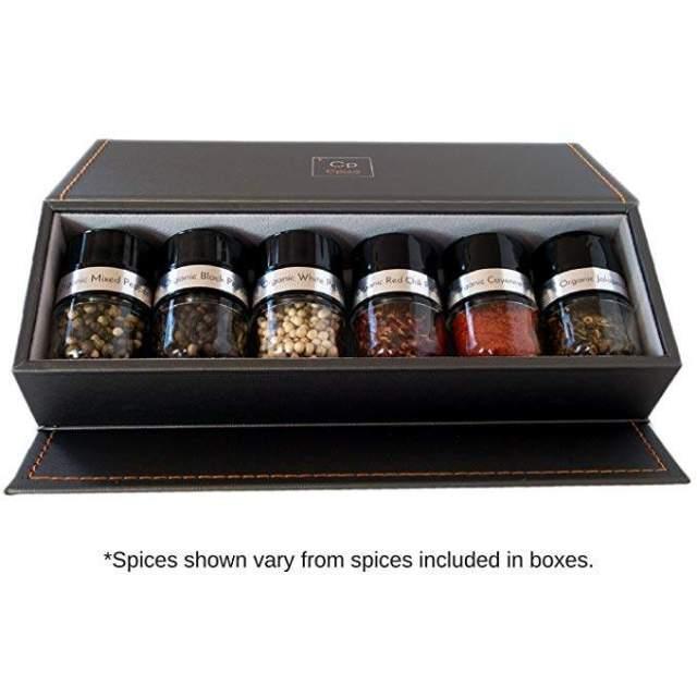 Organic Spice Starter Gift Set - Storage Box, 6 Glass Bottles & Organic Spices - #1 Basic: Mediterranean Sea Salt, Mixed Peppercorn, Red Pepper, Garlic, Italian Herb & Honey Crystals