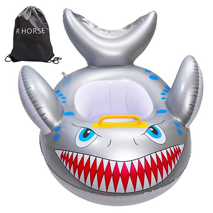 R HORSE Shark Shaped Baby Swimming Pool Float Cartoon Inflatable Fish Swimming Ring for Kids Toddles Aged 9-48 Months