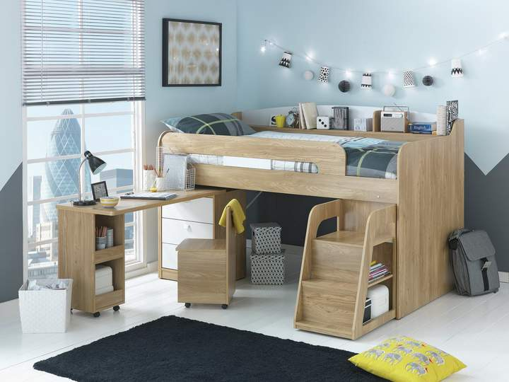 Argos Home Ultimate Storage Beech Mid Sleeper Bed Frame