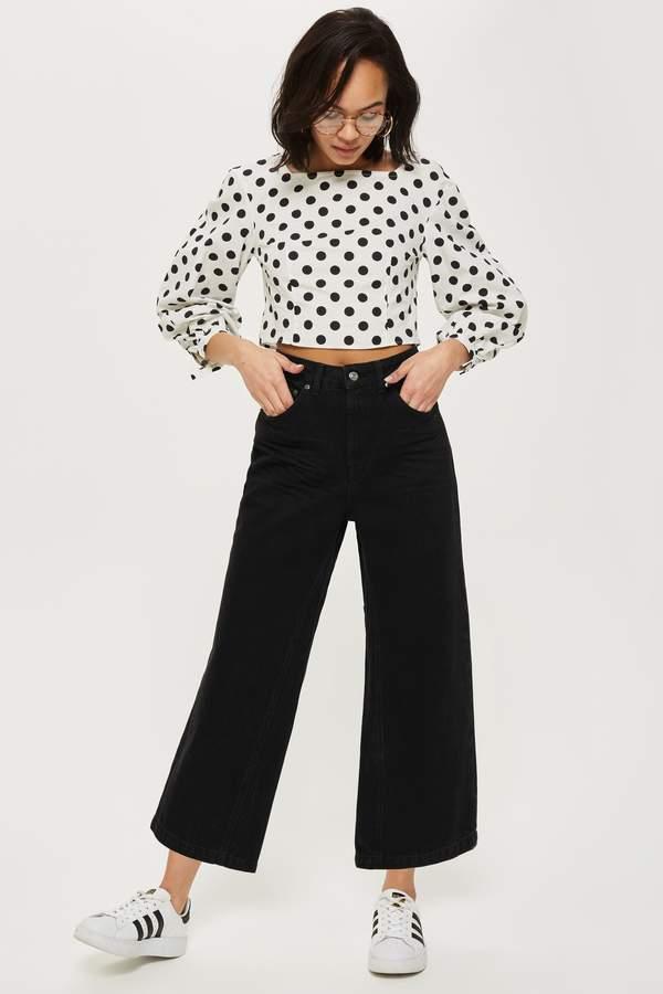 Topshop Womens Clean Black Cropped Wide Leg Jeans - Black