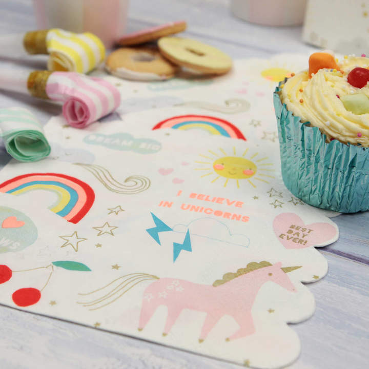 Postbox Party Magical Unicorn And Rainbow Paper Napkins