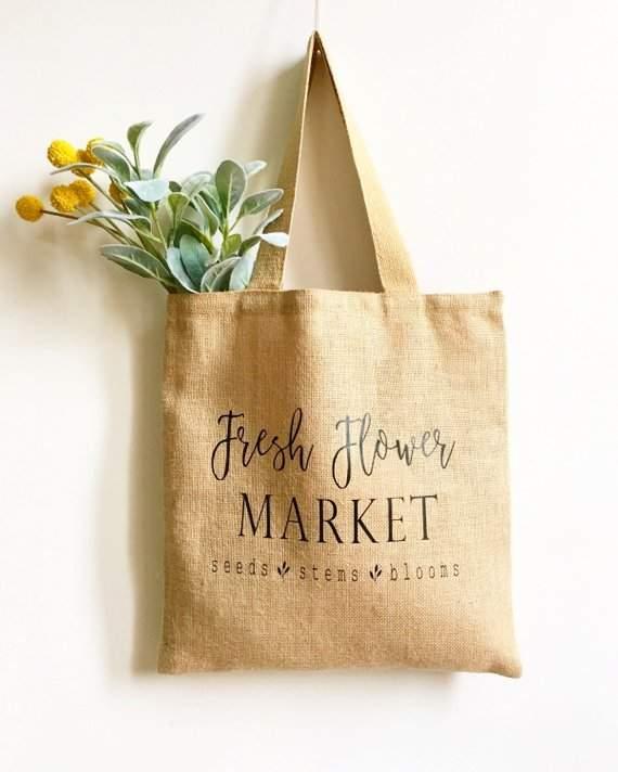 Market Tote Bag, Mother's Day Gift, Farmers Market Bag, Fresh Flower Market, Burlap Bag, Grocery Bag, Gift For Mom, Gift For Her