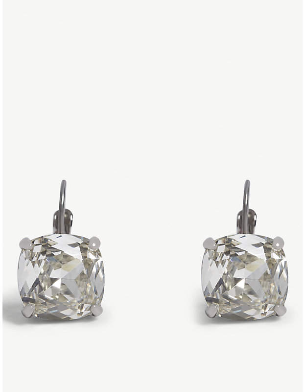 kate spade new york Square crystal leverback earrings