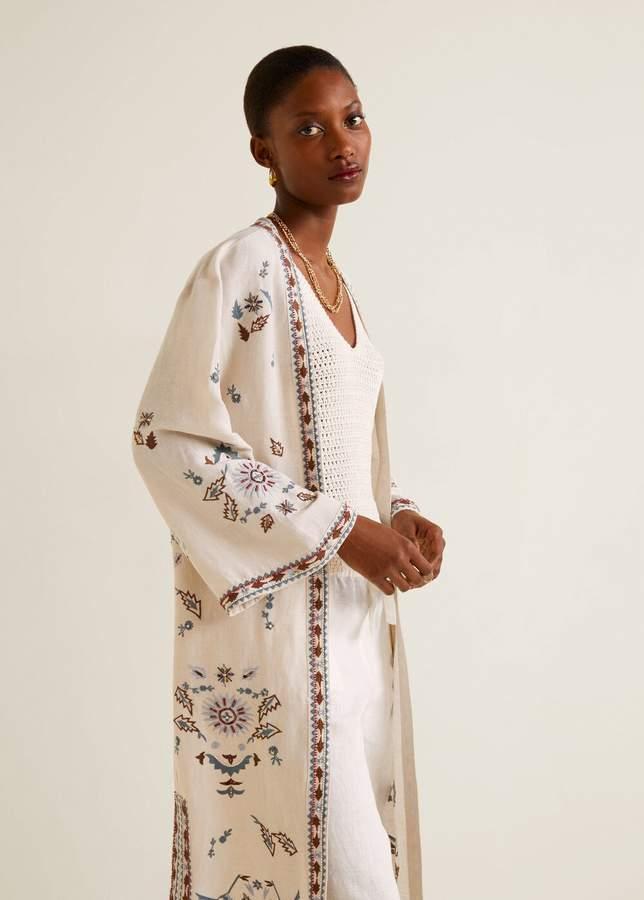 Linen-blend embroidered kaftan