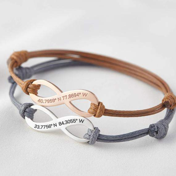 Coordinate Bracelet Leather - Coordinates Bracelet Women - Graduation Gift For Her - Graduation Gift For Best Friends - Coordinate Jewelry