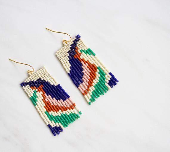 Statement Beaded Earrings | Seed Bead Earrings | Beaded Fringe Earrings | Contemporary Long Beadwoven Earrings | Abstract Beaded Earrings