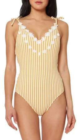 Jessica Simpson - Striped Self-Tie One-Piece Swimsuit - Walmart.com
