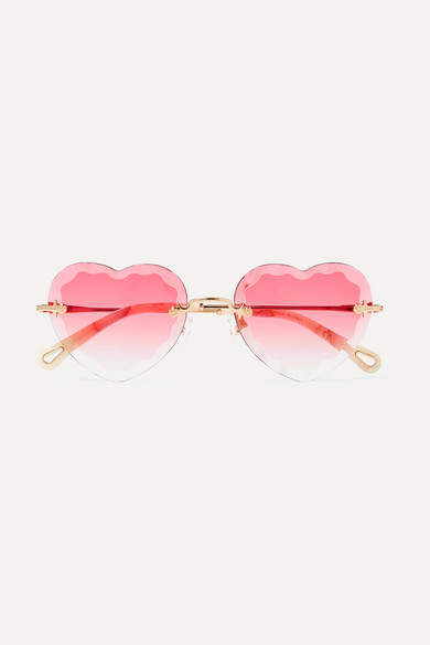 Chloé - Rosie Heart-shaped Gold-tone Sunglasses - Pink