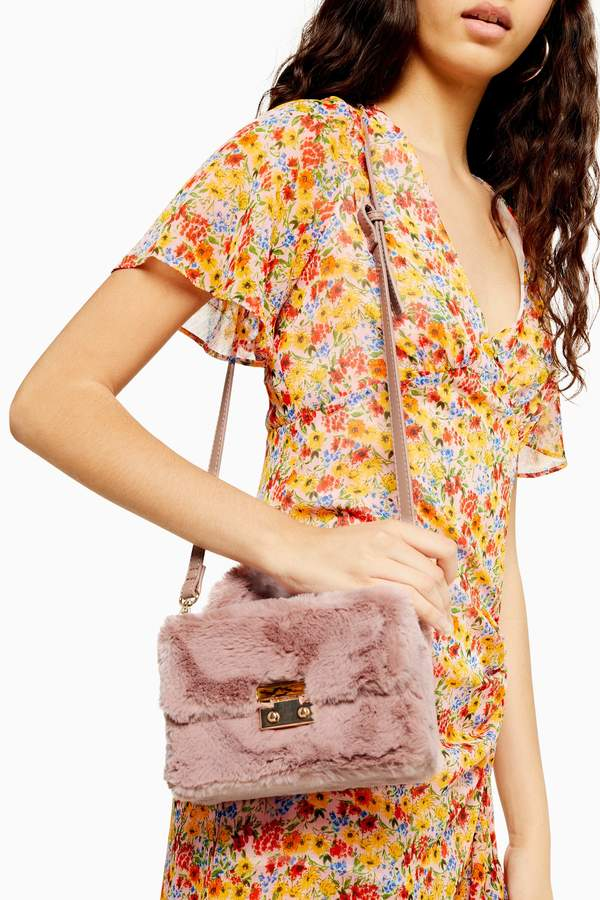 Topshop Womens Fizz Pink Faux Fur Box Grab Bag - Pink