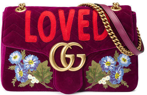 GG Marmont embroidered velvet bag