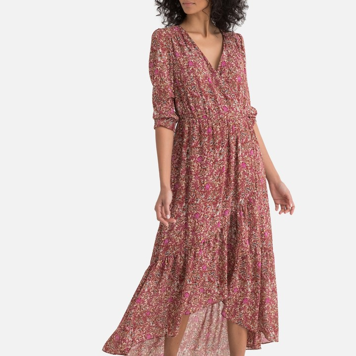 SEE U SOON Floral Print Boho Maxi Dress with Wrapover Neck and Long Sleeves