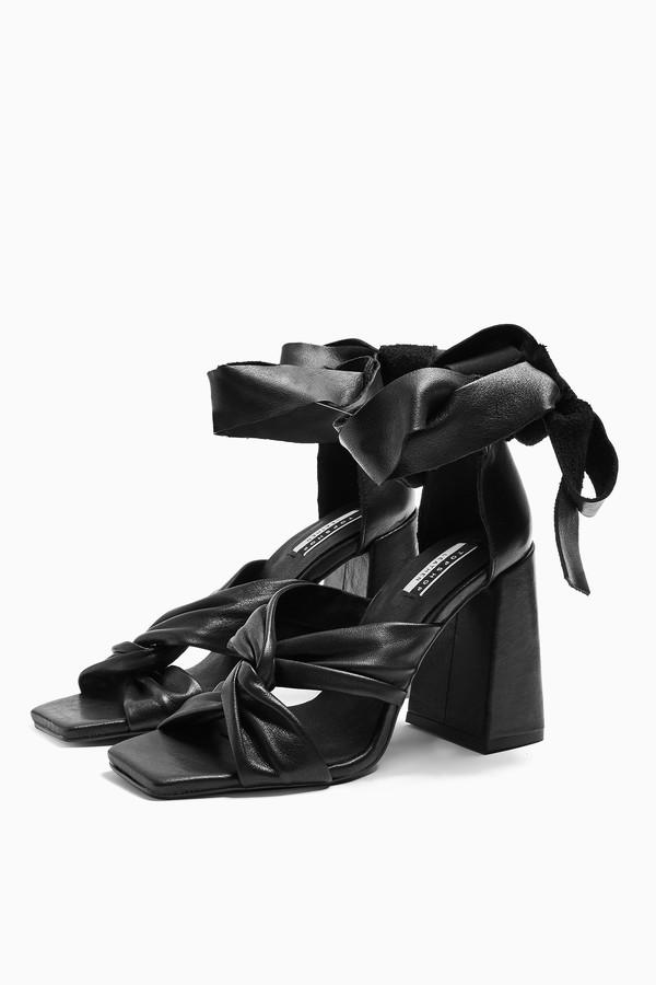Topshop Womens Revolve Leather Black High Sandals - Black