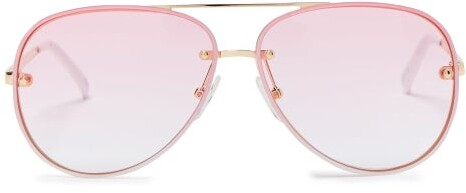 Le Specs - Hyperspace Aviator Metal Sunglasses - Womens - Pink White