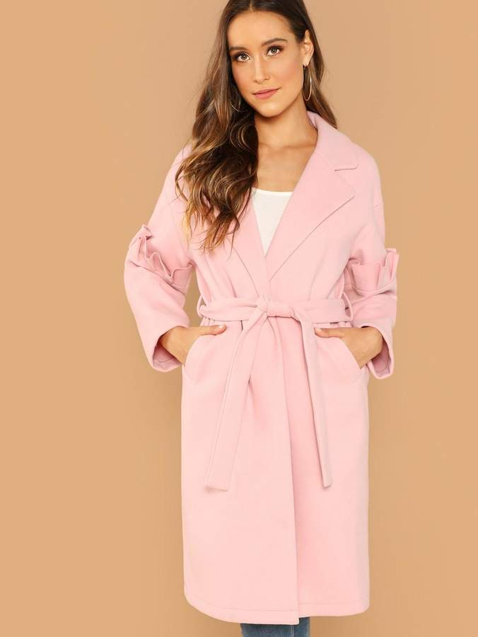 SheIn Ruffle Trim Split Hem Self Belted Coat