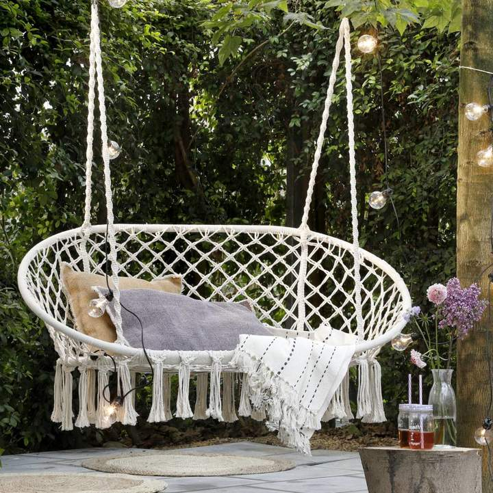 Ella James Cream Macrame Double Hanging Garden Seat