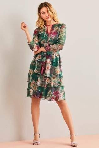 Womens Next Green Tiered Ruffle Dress