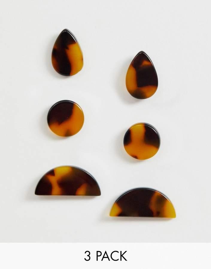 Asos Design ASOS DESIGN pack of 3 earrings in tortoiseshell shape design