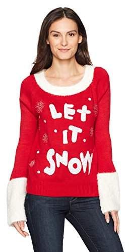 Blizzard Bay Women's Wide Neck Let It Snow Christmas Sweater