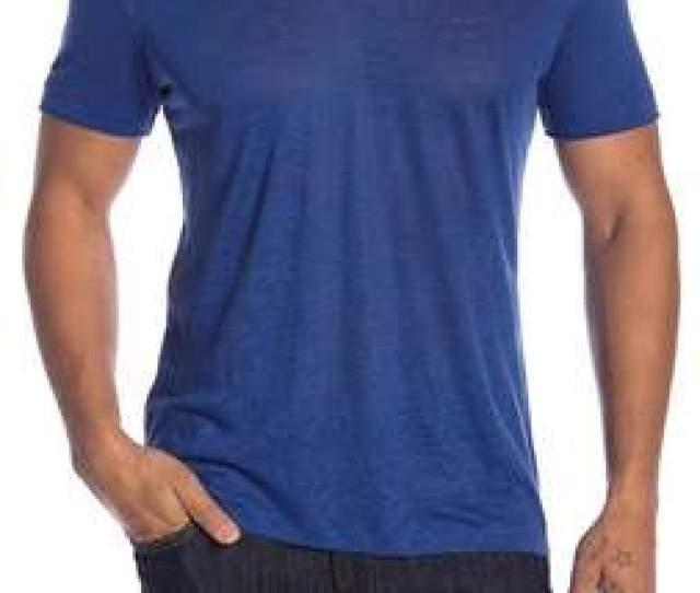 John Varvatos Burnout V Neck Short Sleeve Linen Tee