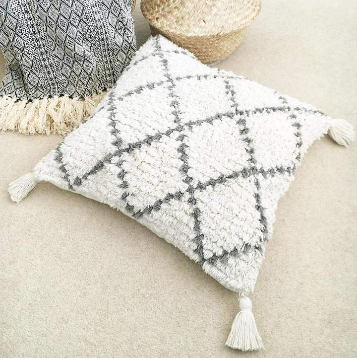 The Den & Now Shaggy Geometric Moroccan Cushion