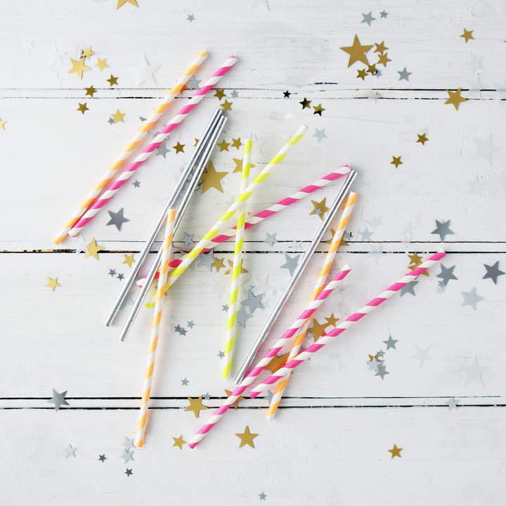 Postbox Party Colourful Neon Stripe Party Straws