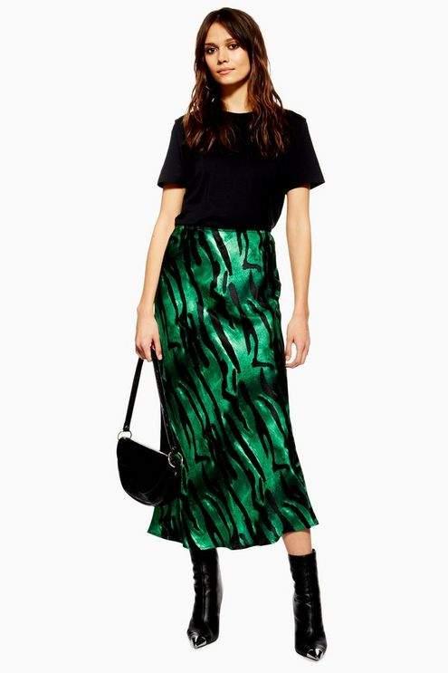 Topshop Womens Tiger Print Satin Bias Midi Skirt