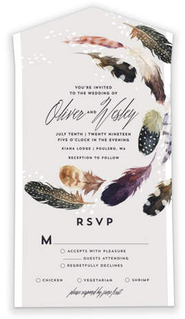 Savvy Wedding Invitations By Minted / Feather Flurry Savvy Wedding Invitations
