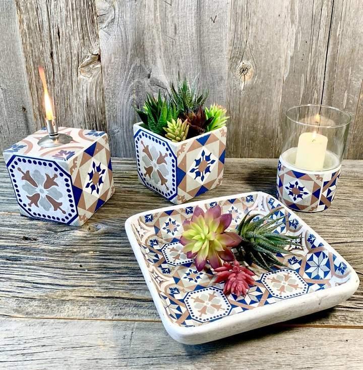 London Garden Trading Portuguese Tiled Tray Bowl