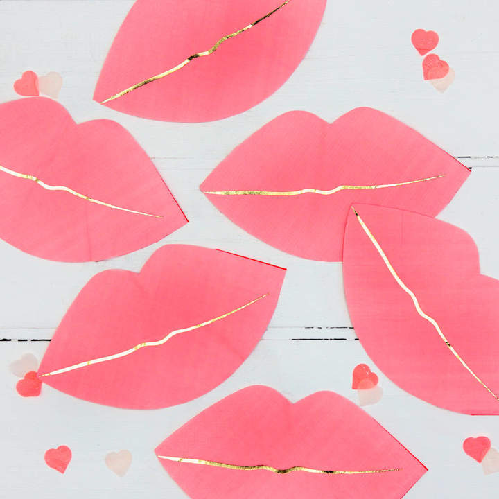 Postbox Party Luscious Pink Lips Party Napkins