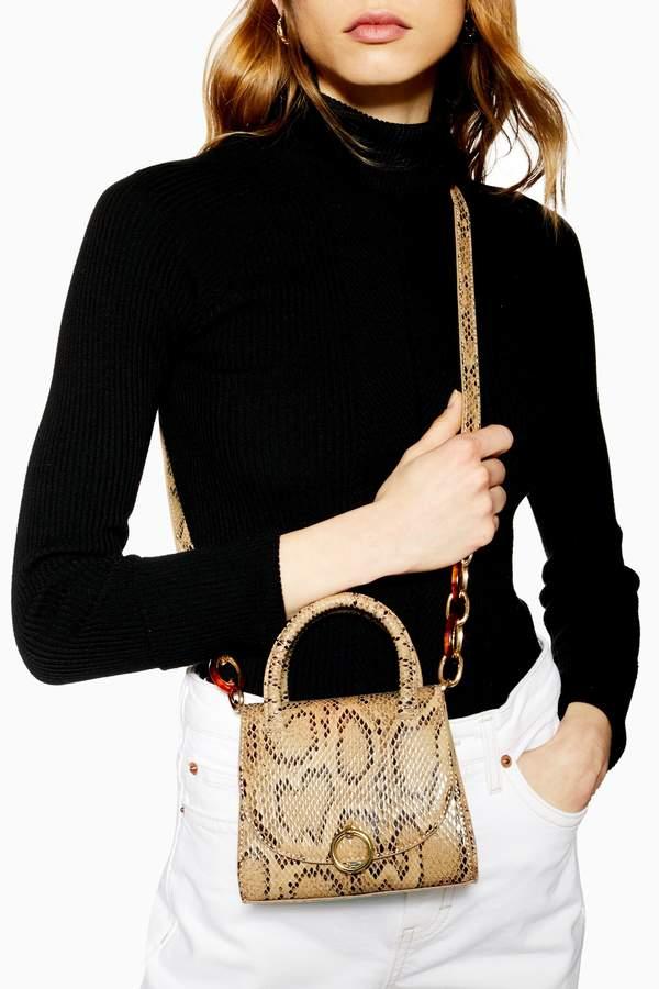 Topshop Womens Marley Snake Print Mini Bag - Natural