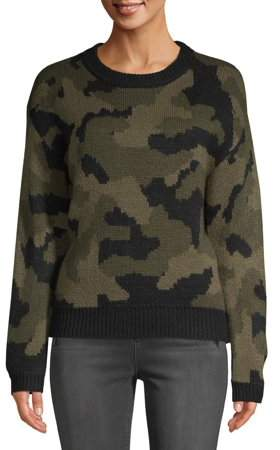 Scoop Camo Intarsia Boxy Crewneck Sweater Women's