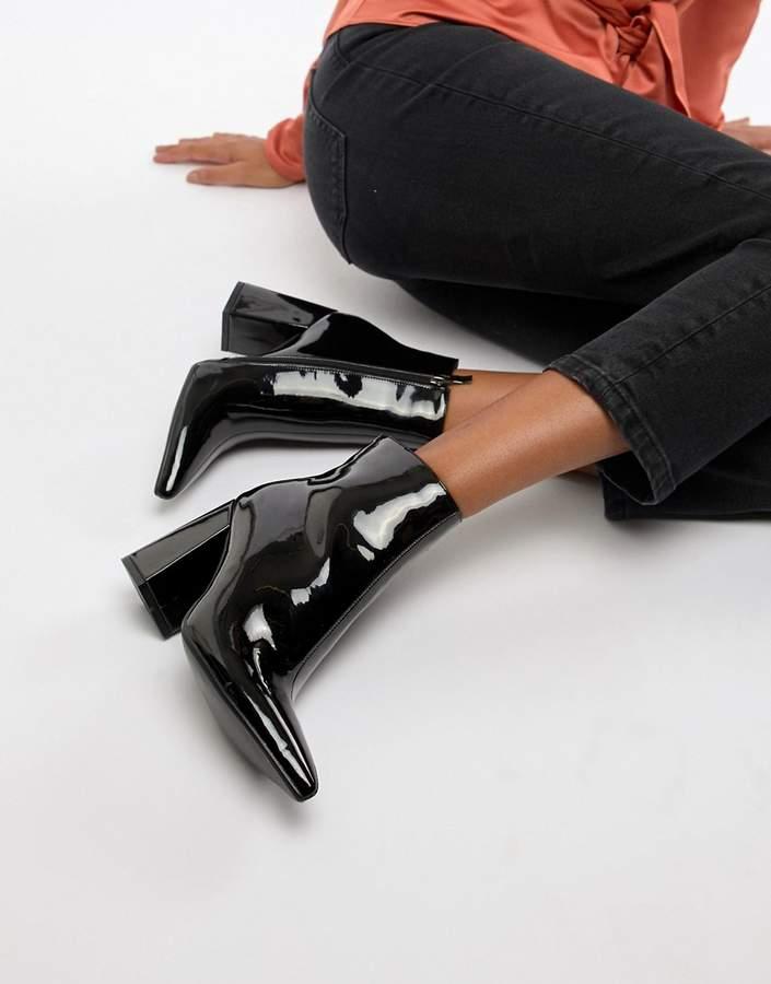 Public Desire Empire black patent block heeled ankle boots