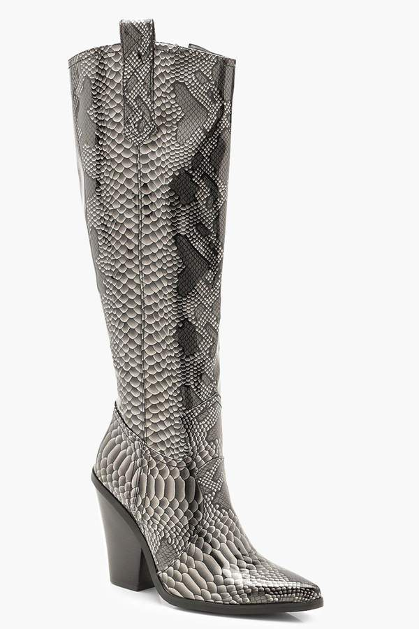 Over The Knee Snake Cowboy Boots