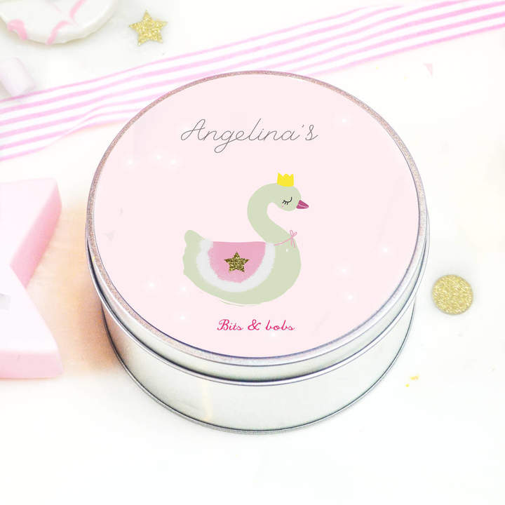Lily Summery Personalised Little Girls Tin 'Swan'