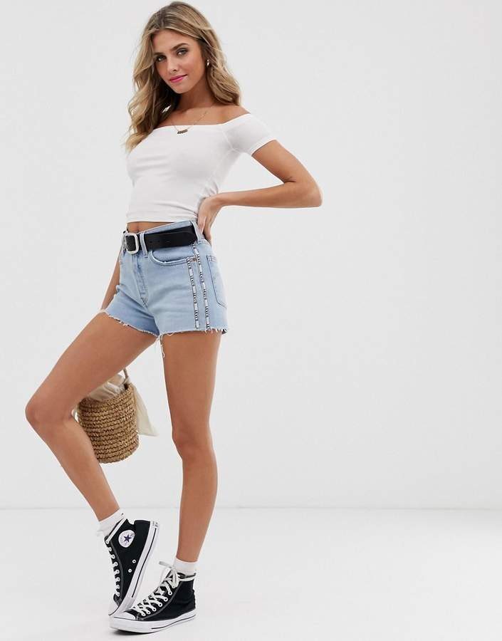 Levi's 501 high waist denim shorts with taping