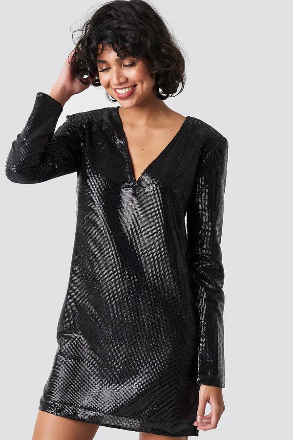 NA-KD Square Shoulder Sequins Dress Black