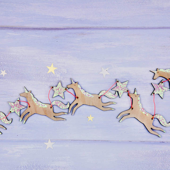 Postbox Party Magical Unicorn Wooden Garland