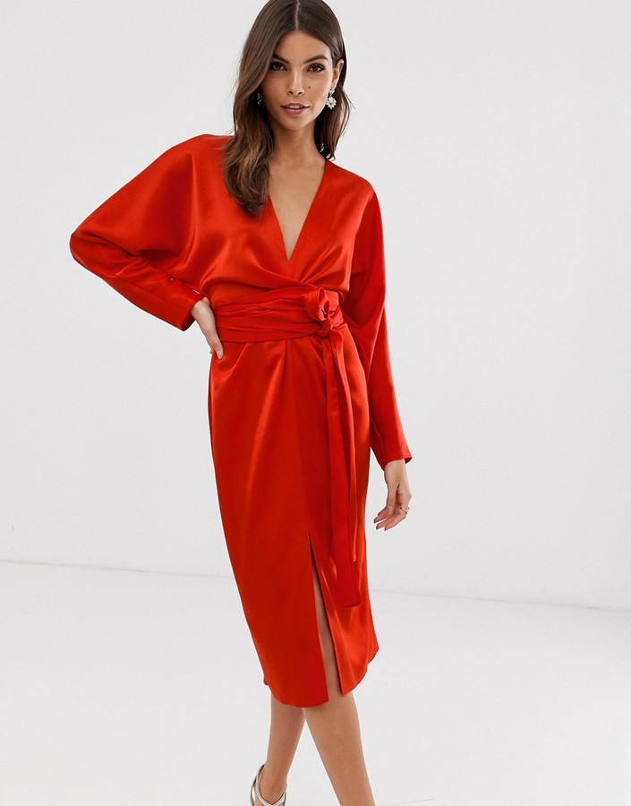 Asos Design ASOS DESIGN midi dress with batwing sleeve and wrap waist in satin-Red