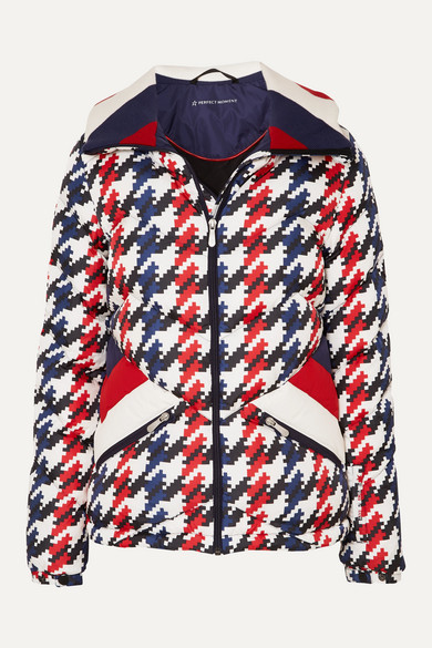 Perfect Moment - Apres Duvet Houndstooth Quilted Down Ski Jacket - Navy