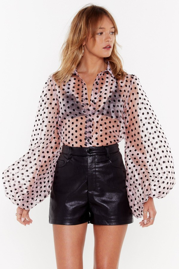 Womens Sheer Polka Dot Puff Sleeve Blouse - Pink - M