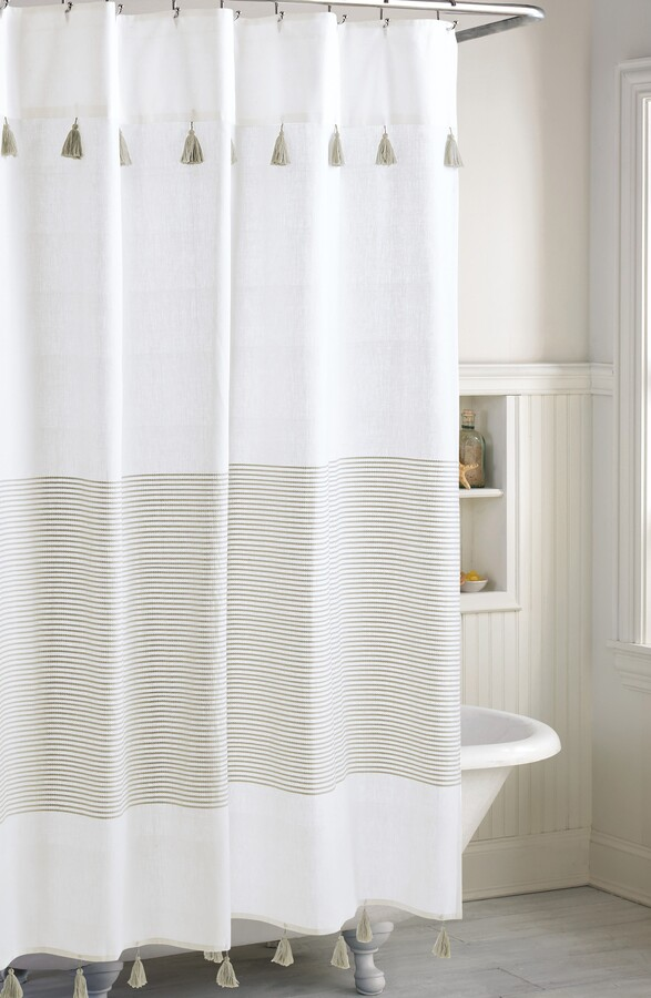 panama stripe shower curtain