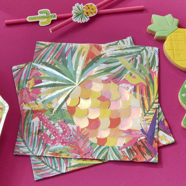 Ginger Ray Tropical Pineapple Iridescent Foiled Paper Party Napkin