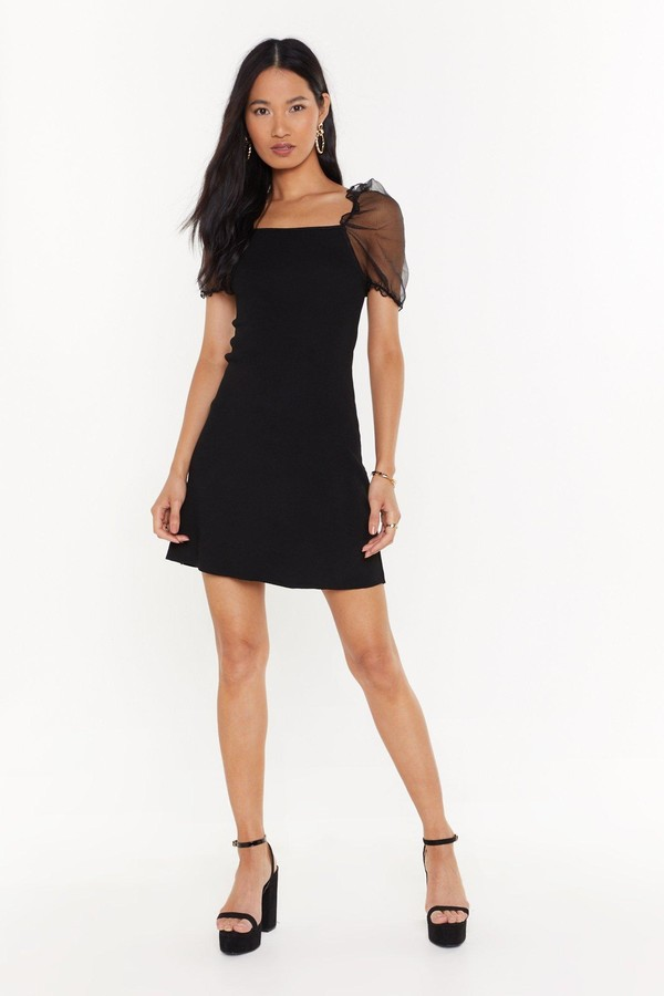 Nasty Gal Womens Sheer Me Out Square Neck Mini Dress - black - S