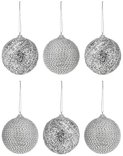 DEBENHAMS Debenhams - Pack Of 6 Silver Diamante Baubles