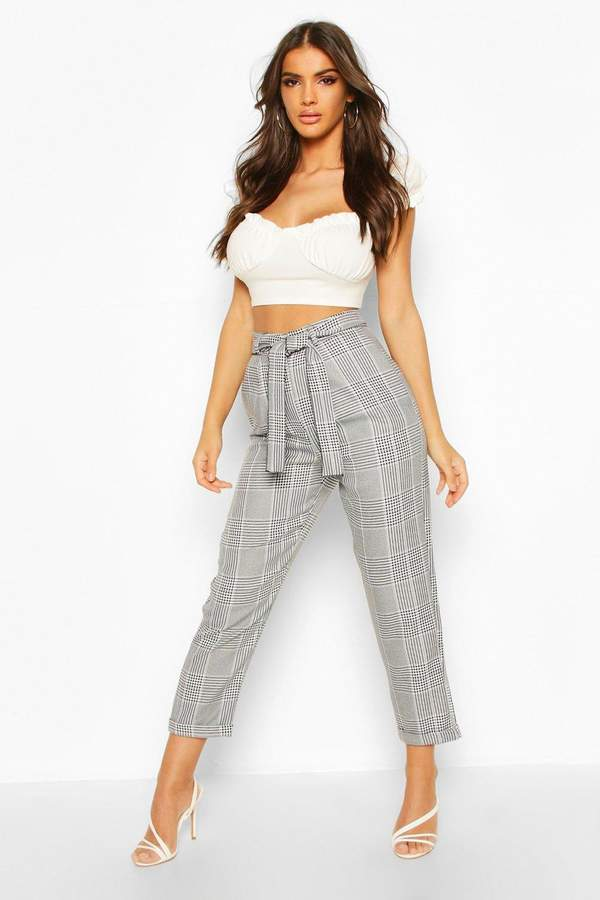boohoo Turn Up Dogtooth Check Slim Fit Trousers