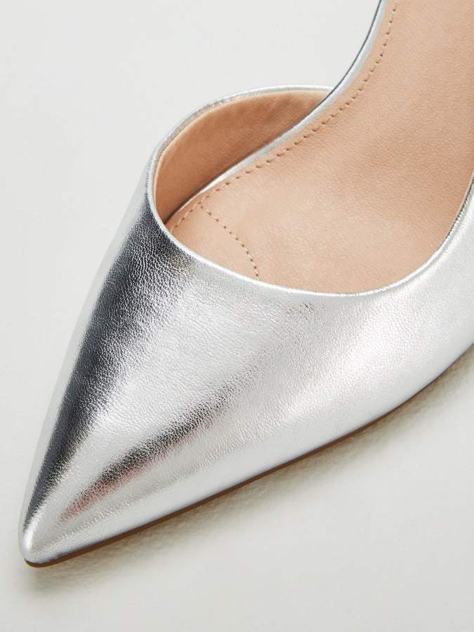 Miss Kg Celia Wide Fit D'orsay Court Shoes - Silver