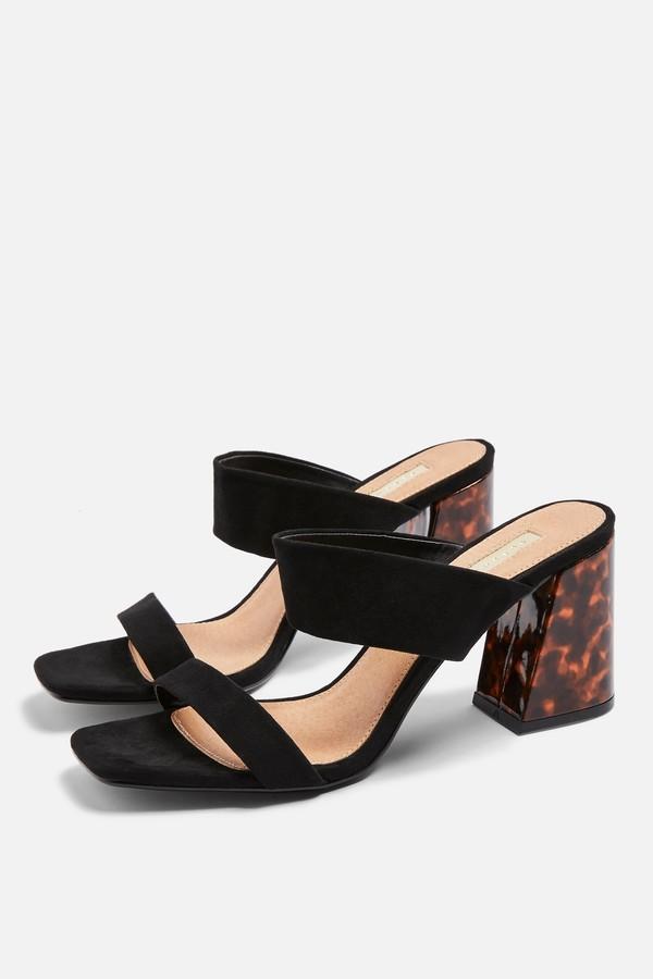 Topshop Womens Selina Suede Black Tortoiseshell Heel Sandals - Black