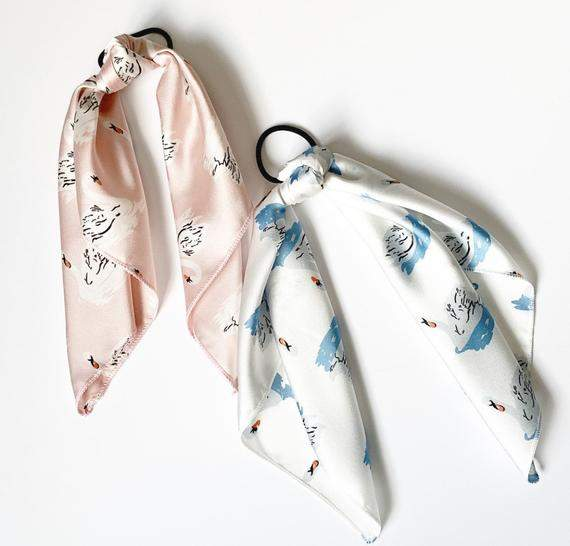 Silk Series Printed Scarves | White Swans | Hair Scarf | Neckerchief | Hair Tie Included | Several Patterns