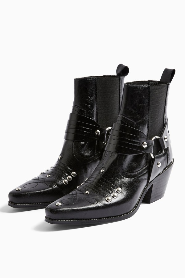 Topshop Womens Mexico Black Western Leather Boots - Black